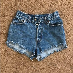 Vintage Levi's high waisted dark denim shorts
